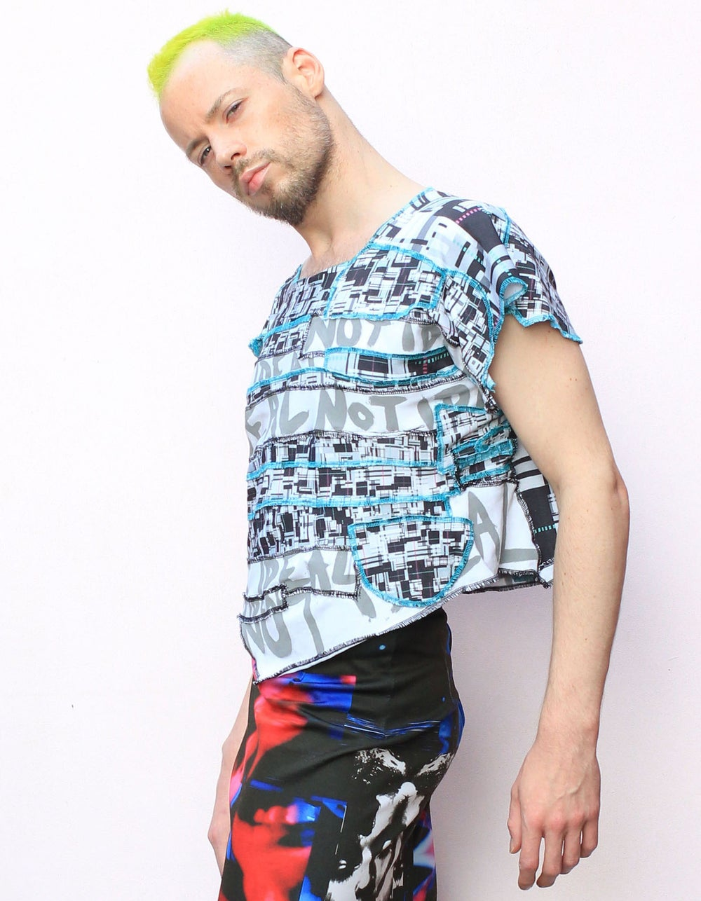 NOT IDEAL GREY AND BLUE DECONSTRUCTED PATCHWORK TOP