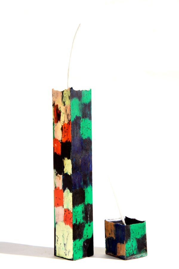 Image of Tower Mother & Child in red, black, brown, navy, green, pink and soft yellow