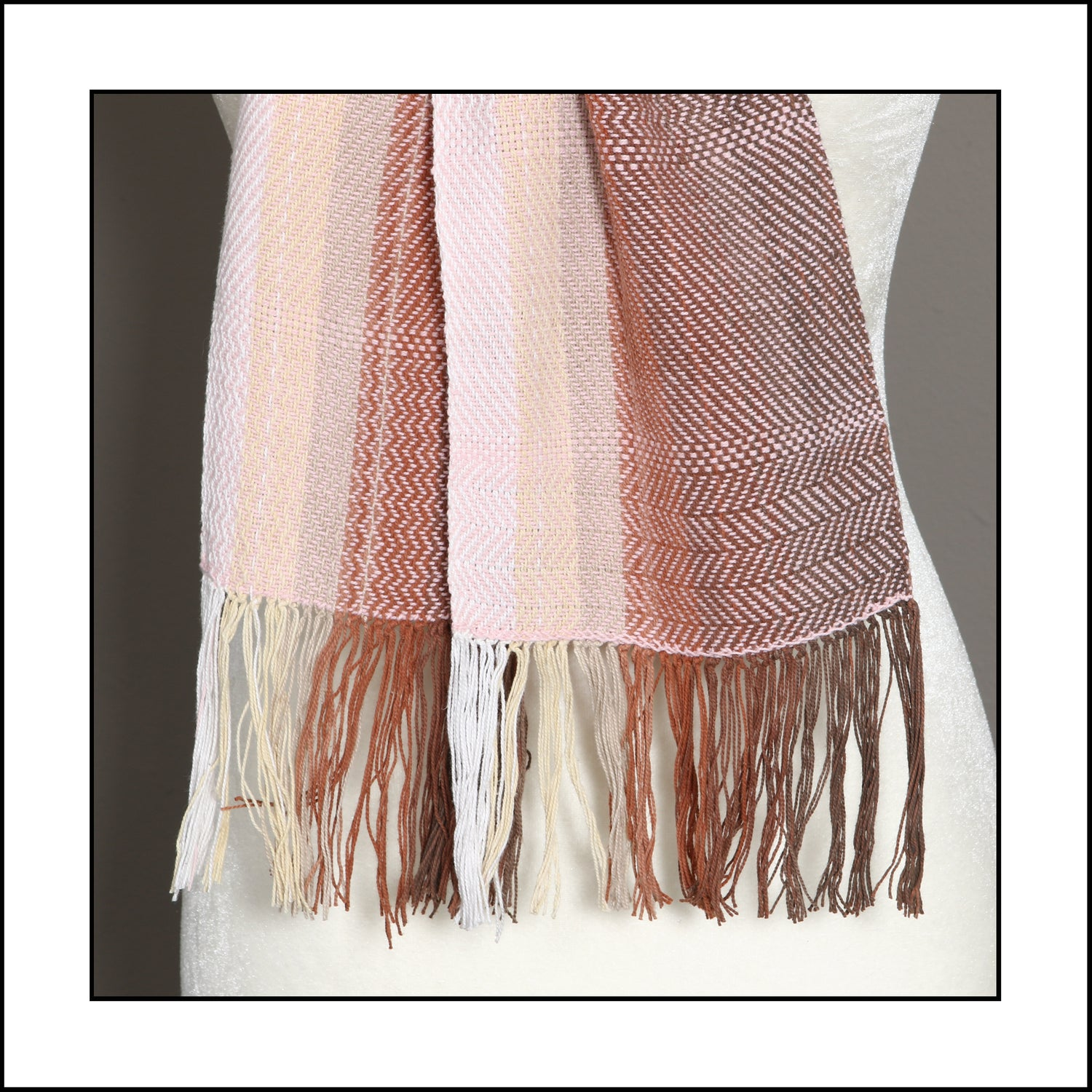 """Image of """"Weaver's Hand"""" Cotton Scarf - browns with light pink"""