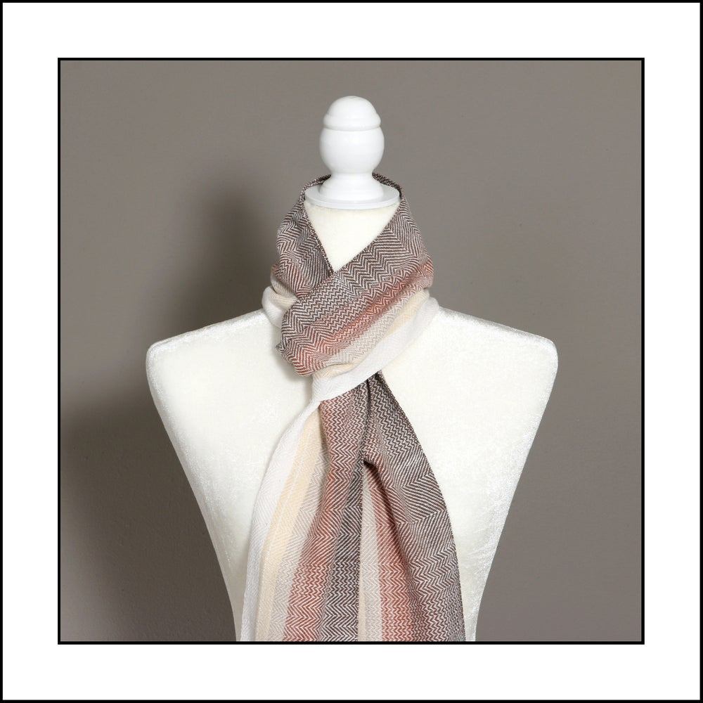"""Image of """"Weaver's Hand"""" Cotton Scarf - browns with white"""