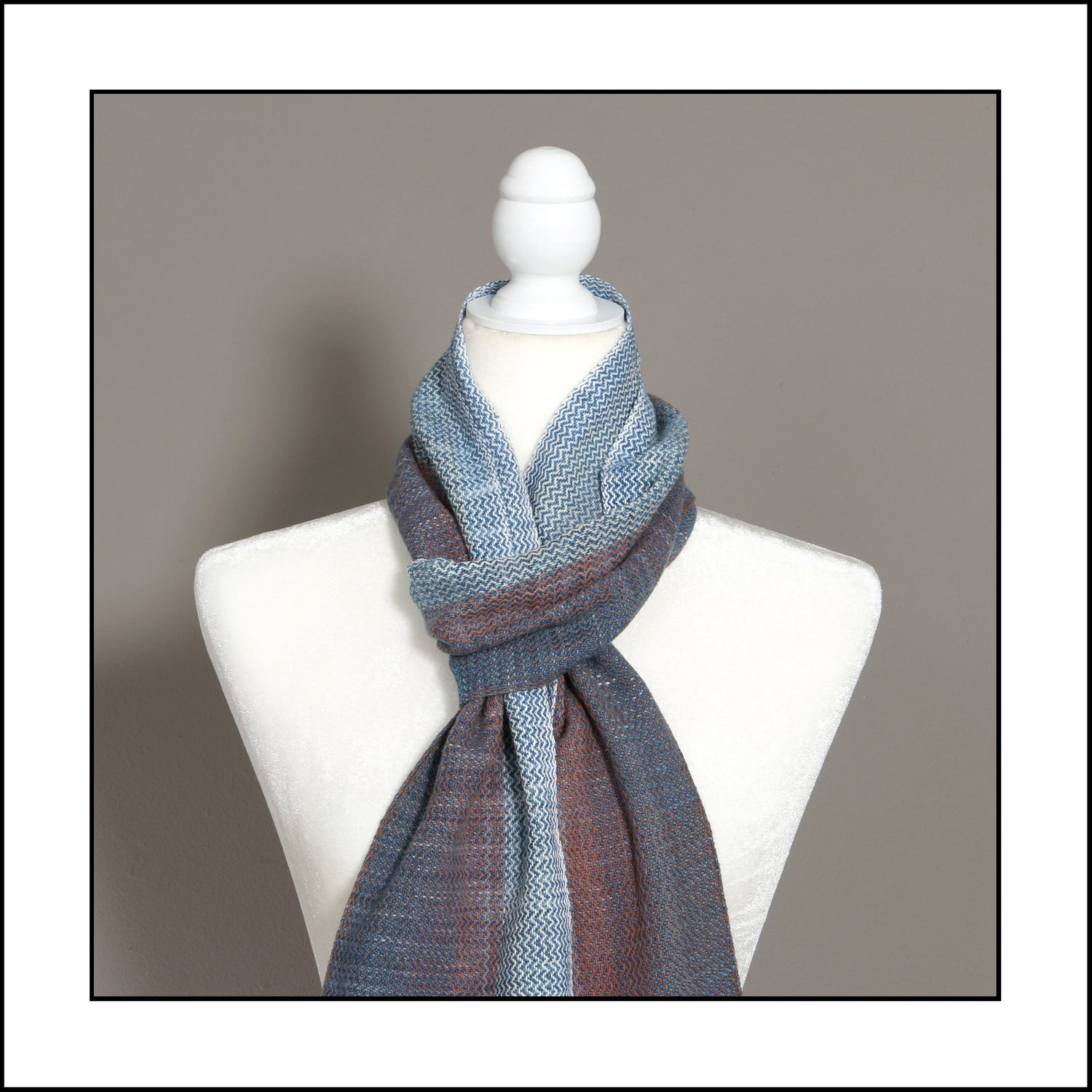 """Image of """"Weaver's Hand"""" Cotton Scarf - browns with indigo"""