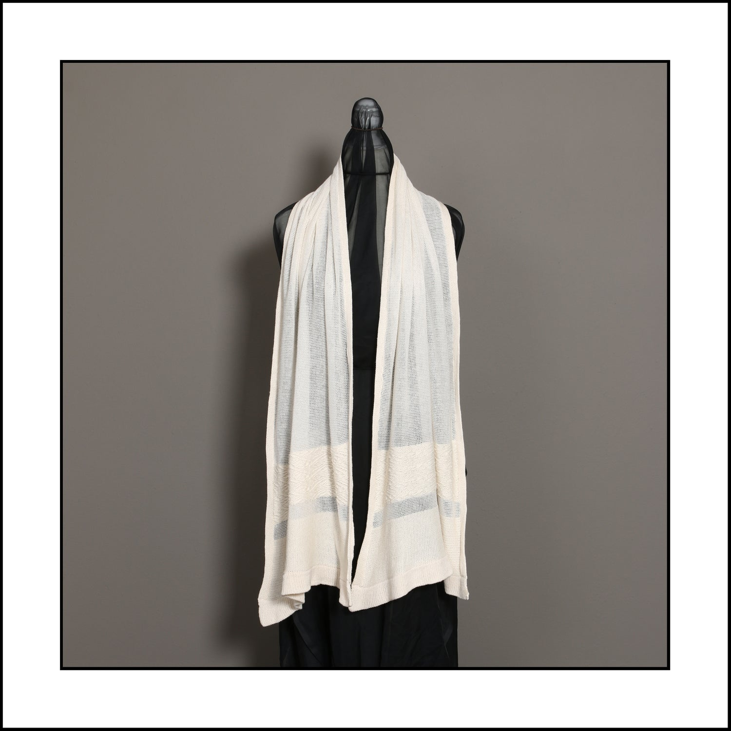 Image of Pure Cotton Scarf with Textured Wave Stripe