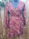 Wrap dress maroon and pink