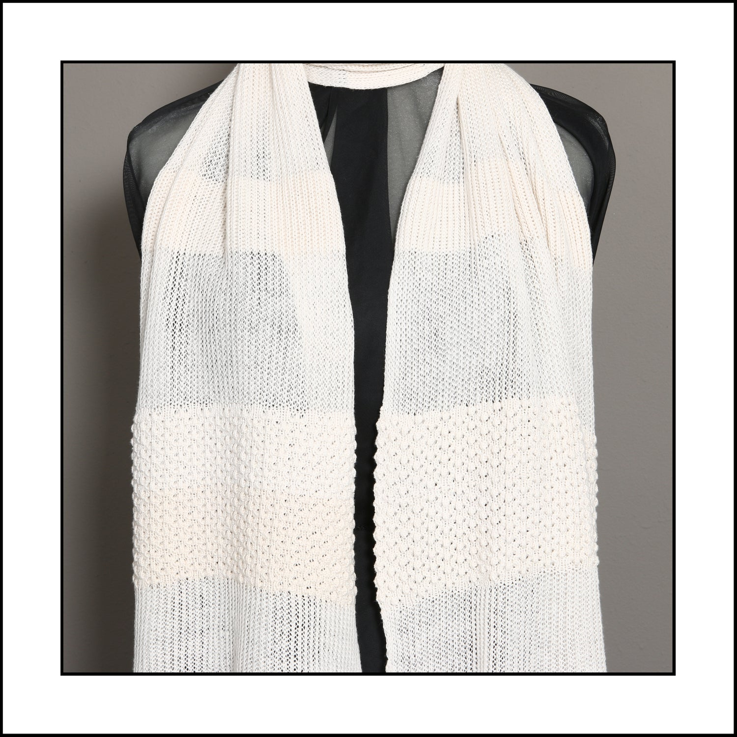 Image of Pure Cotton Scarf with Textured and Fine Detail (doublebed knit)