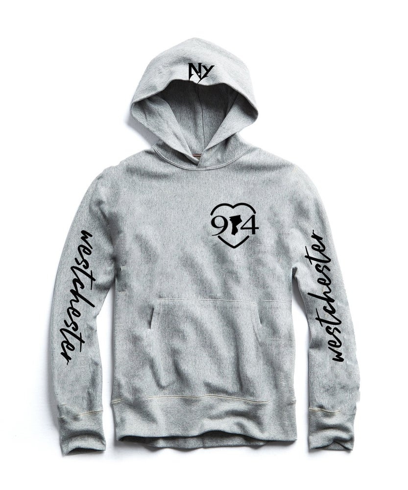Image of ITS ALL LOVE 914 MAP HOODIE, GREY BLACK ROYAL RED