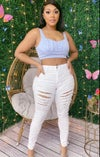 White Distressed Jeans (Plus Size)