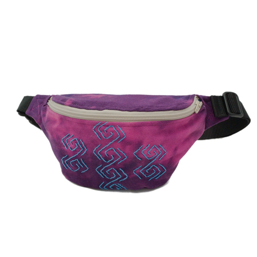 Image of Tie Dye Denim Bumbag SQUERE SPIRAL turquoise