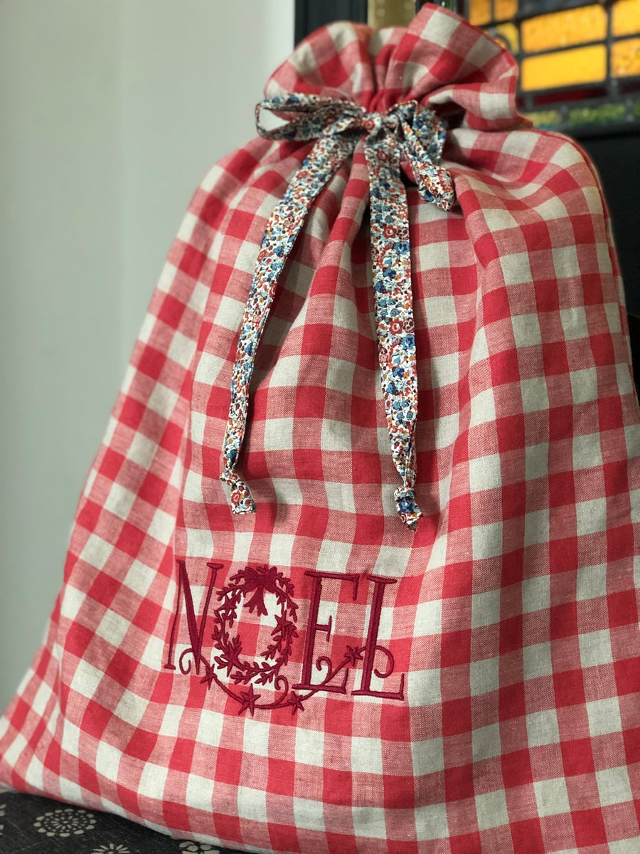 Image of Embroidered Gingham Noel Christmas Sack