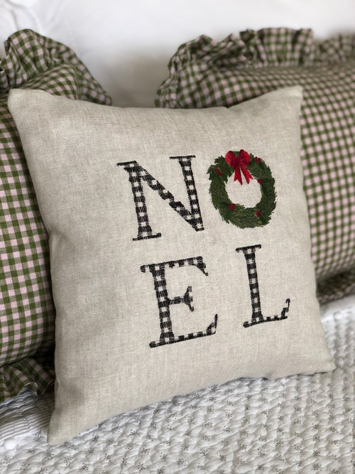 Image of Embroidered Noel Cushion