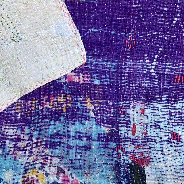 Image of Vintage Kantha Quilt - Violet & Sand