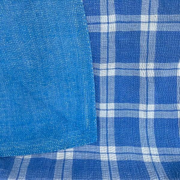 Image of Vintage Kantha Quilt - Blue Plaid