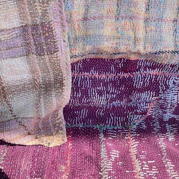 Image of Vintage Kantha Quilt - Color Grid