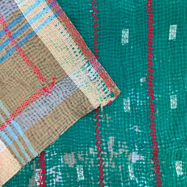 Image of Vintage Kantha Quilt - Emerald