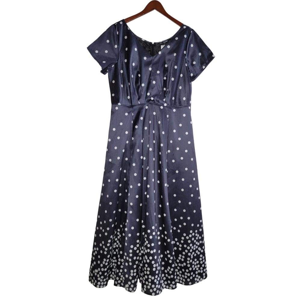 Image of Eshakti Tea Length Polka Dot Dress