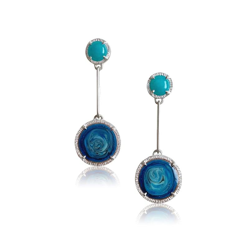 Image of sea and swirl earrings