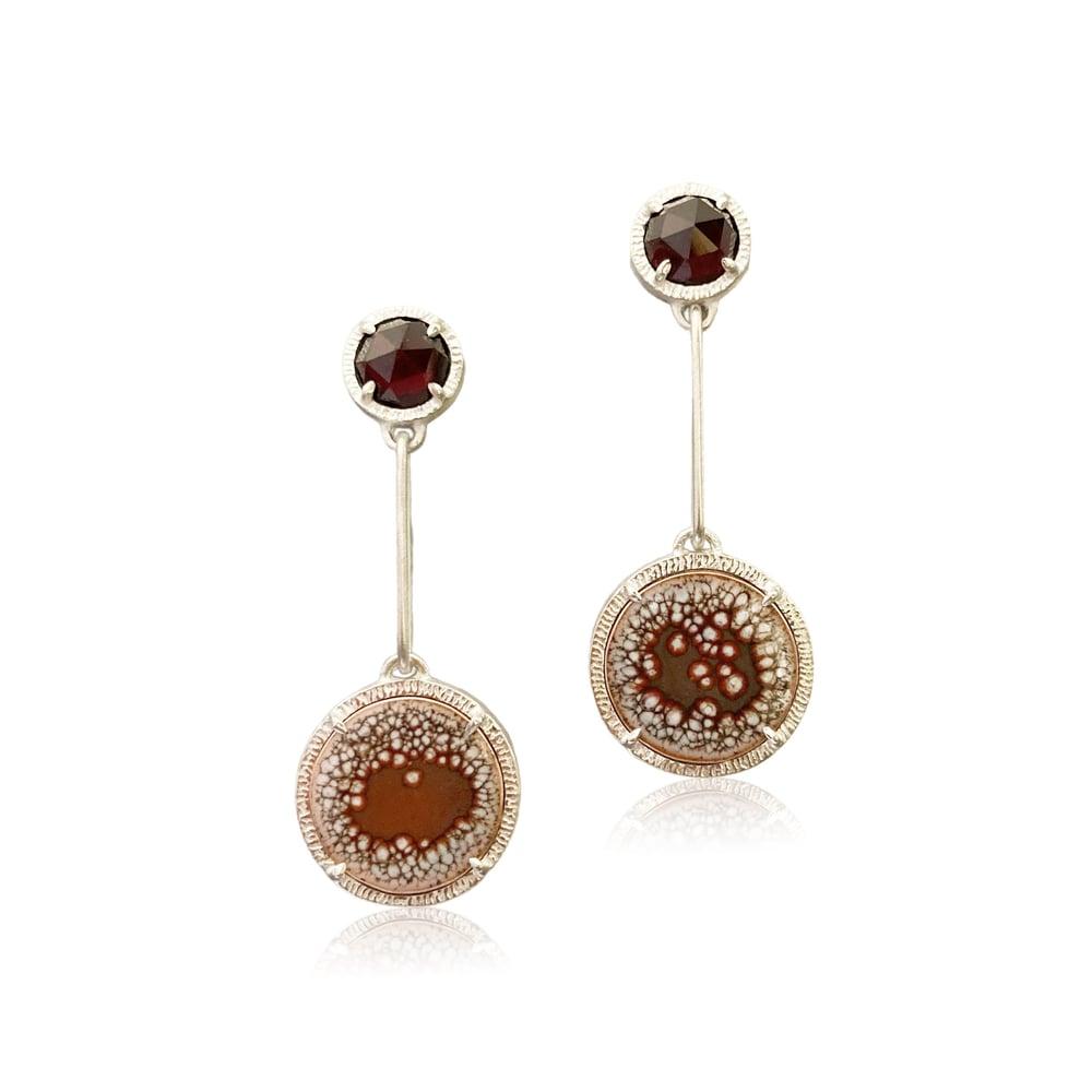 Image of garnet and galaxy earrings