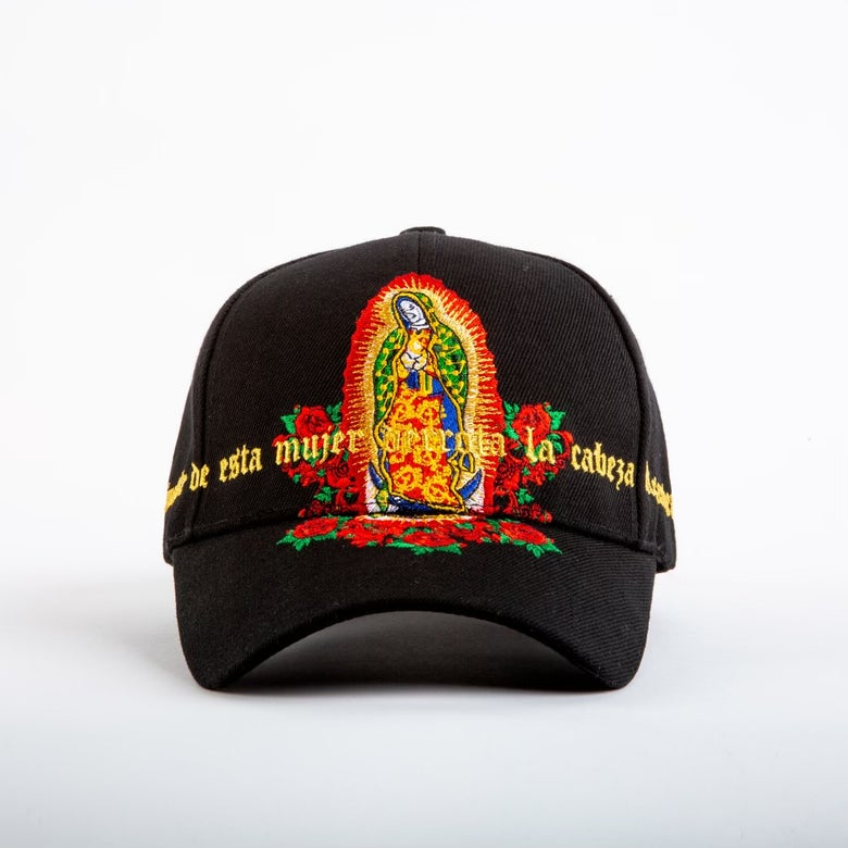 Image of Black Guadalupe embroidery hat