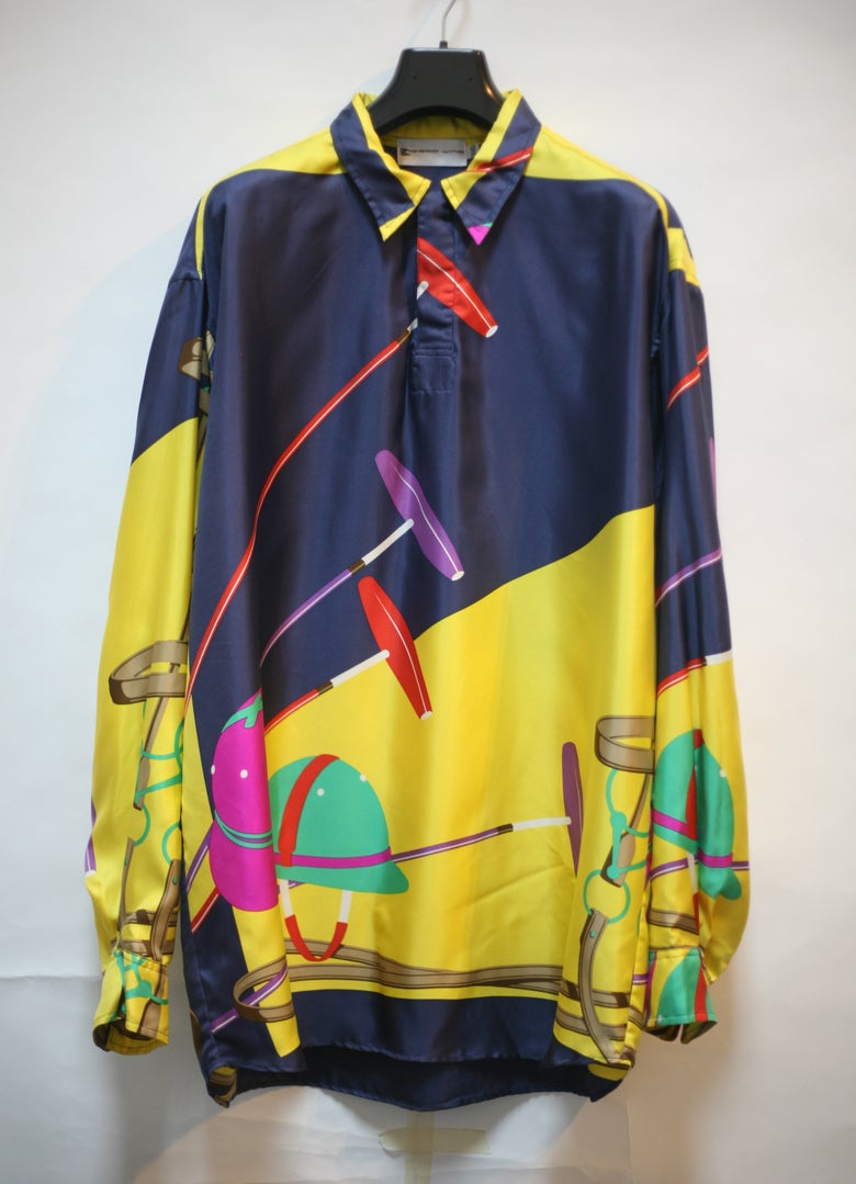 Image of Custom Silk Equestrian Polo Ralph Lauren Scarf Shirt