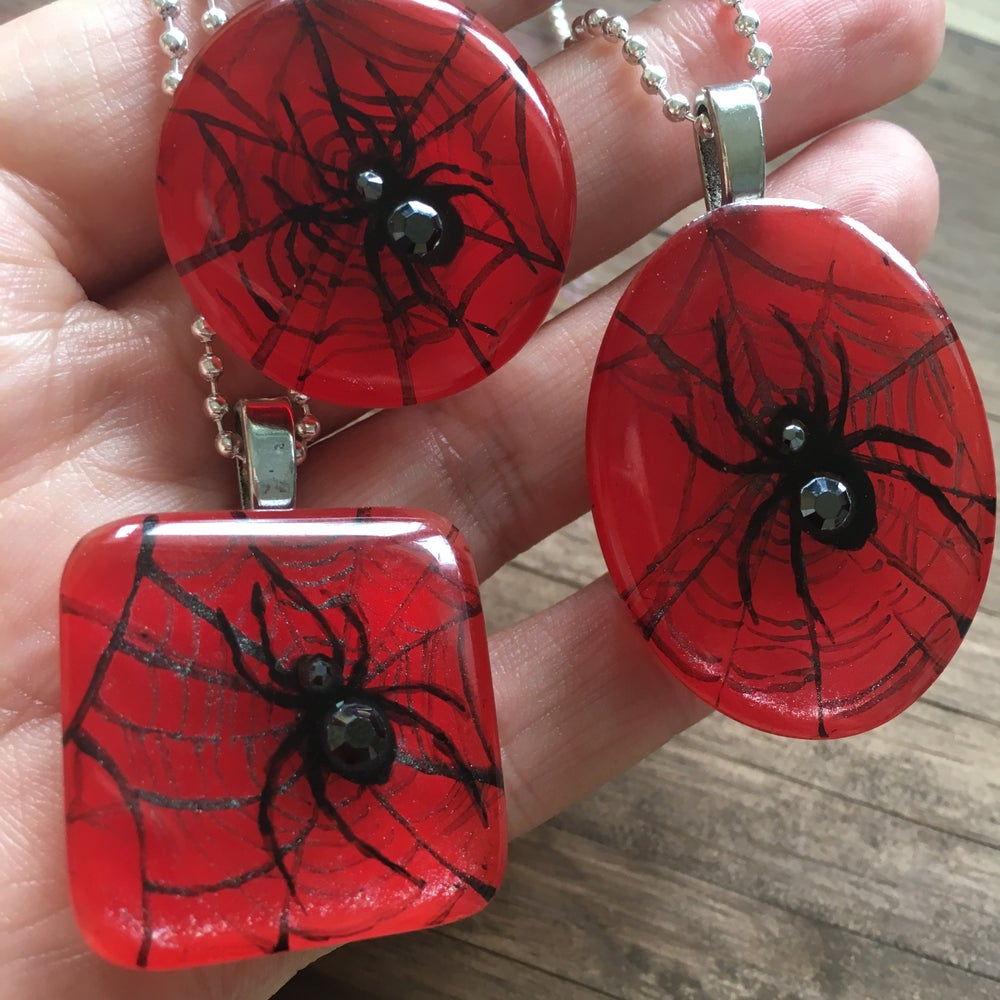 Hand painted Spider on Web Resin Pendant