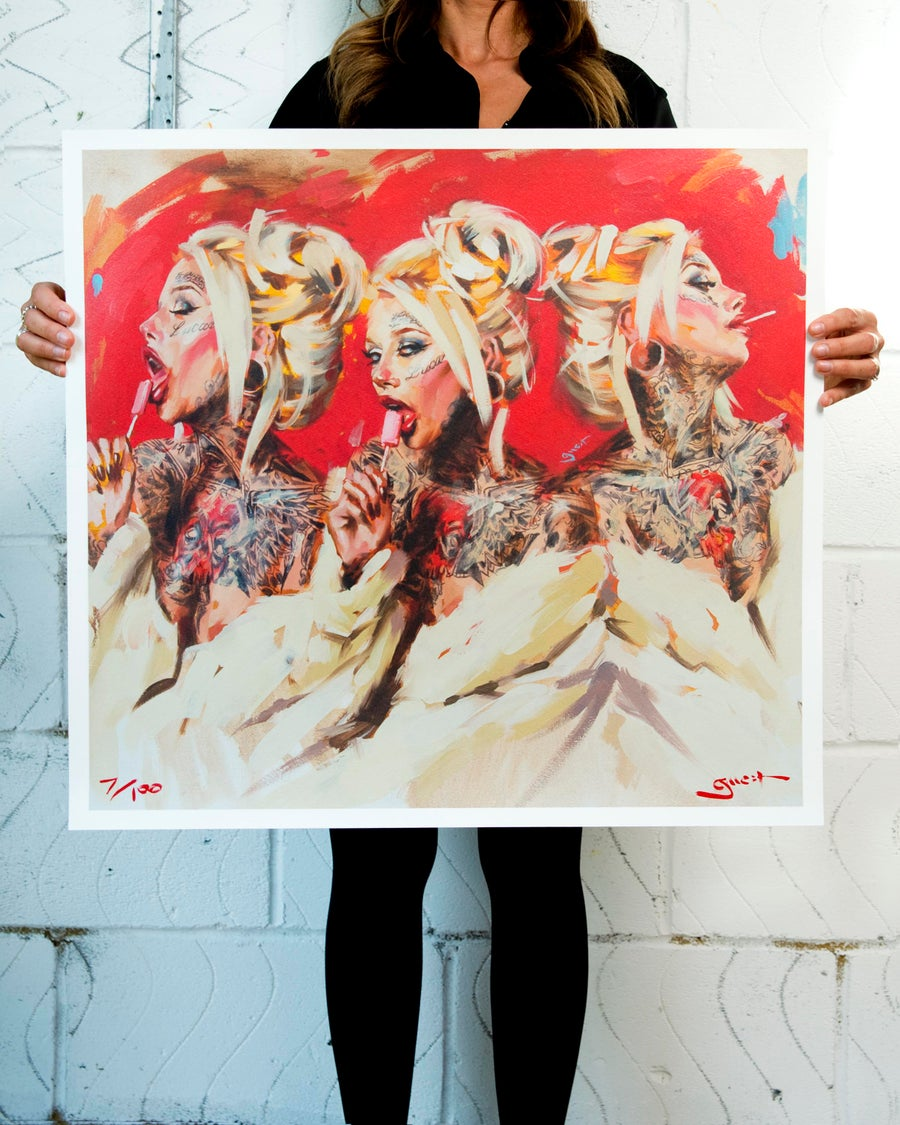 Image of Extremely Limited Edition Pearlescent 'LOLLIPOP x3' Giclee Print