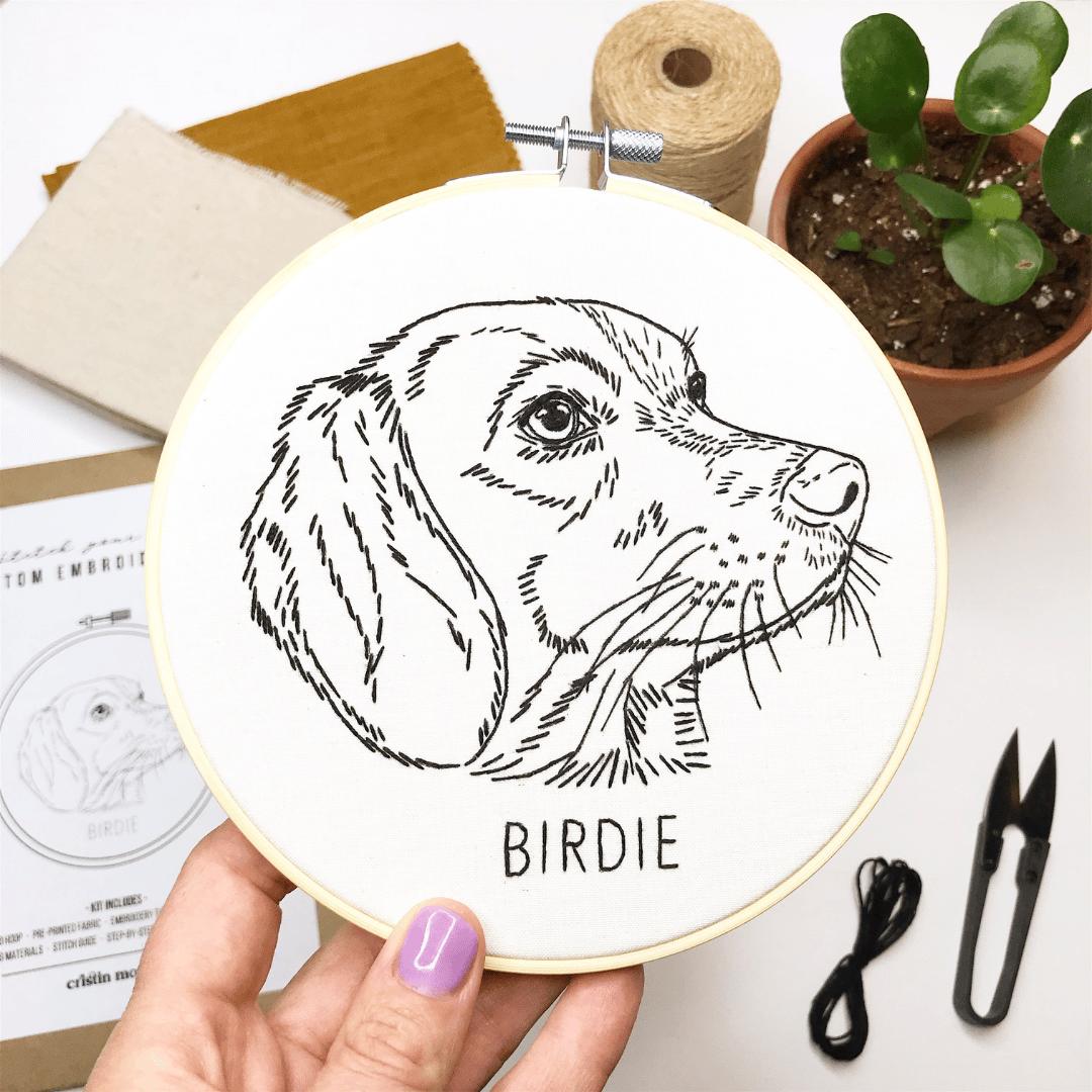 Custom LINEWORK STYLE Hand Embroidered Pet Portait