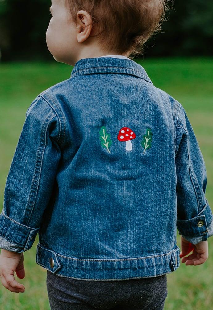 Image of Mushi & Oak Organic Embroidered Baby Denim Jacket