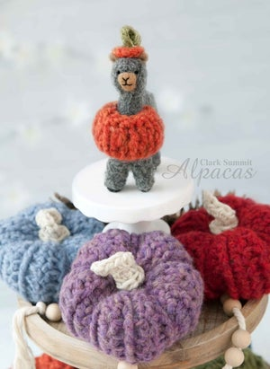 Alpaca in Pumpkin Outfit for Halloween + Thanksgiving Display - Little Llama Tiered Tray Decor