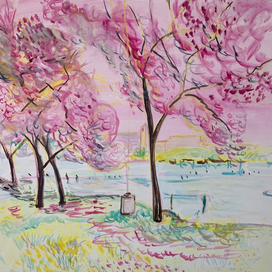 """Image of Cherry Blossoms 30"""" x 30"""" painting"""