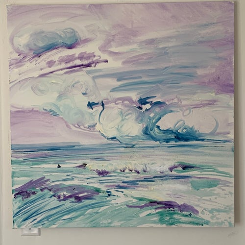 """Image of Violet Clouds 30"""" x 30"""" painting"""