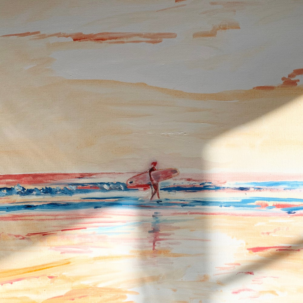 """Image of Surfergirl  30"""" x 30"""" painting"""