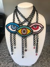 """""""Eye See You"""" Evil Eye Necklace - Multicolored"""