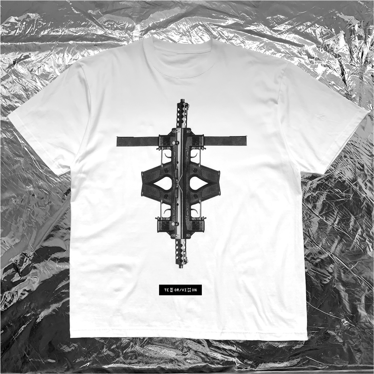 Image of TERROR VISION - Tech9 Cross tee (with 3M reflective embroidery logo patch)