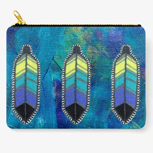 Image of Neon Feathers Zipper Pouch