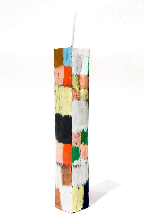 Image of Large Stack Tower in white, green, brown, soft yellow, black, clay pink, baby blue and red
