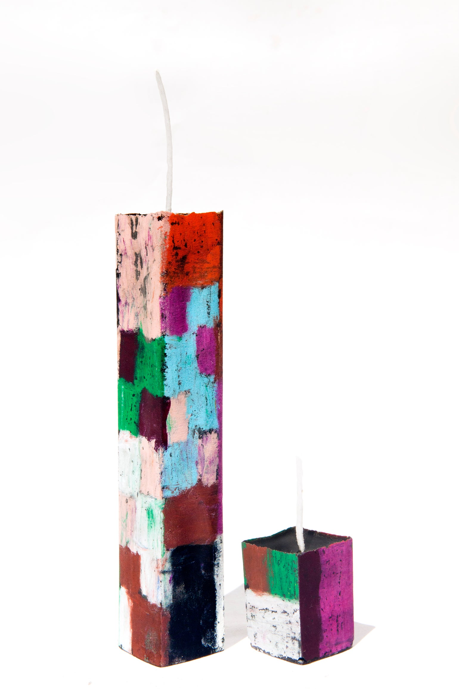 Image of Tower Mother & Child in baby blue, aubergine, pink, red, brown, green, white and burgundy