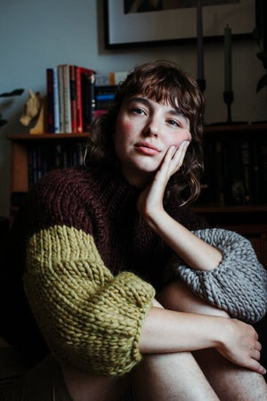Image of Frid Sweater - LIMITED colour blocked Cordovan, Ochre, Fawn