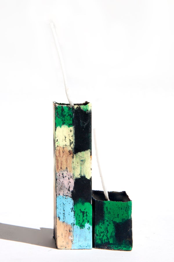 Image of Small Tower Mother & Child in green, black, baby blue, brown, taupe and clay pink