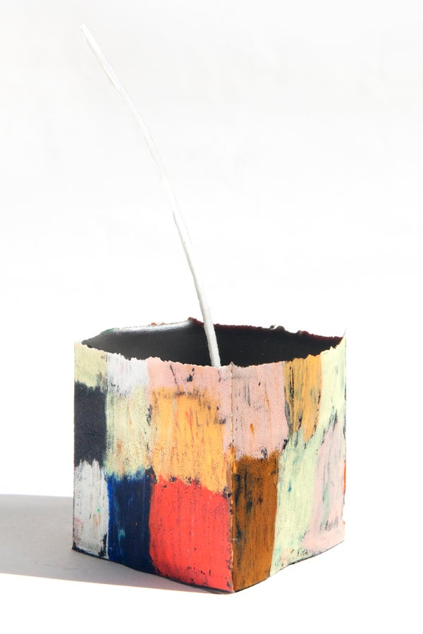 Image of Mid Square Stack in clay pink, orange, brown, navy, black, red, white, soft yellow and green