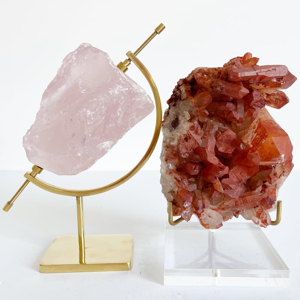 Image of Rose Quartz no.102 + Brass Arc Stand
