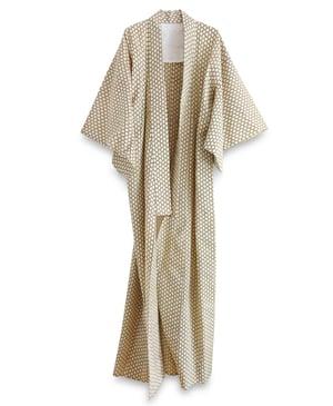 Image of Kimono af bomuld i sennepsfarve med grafisk mønster