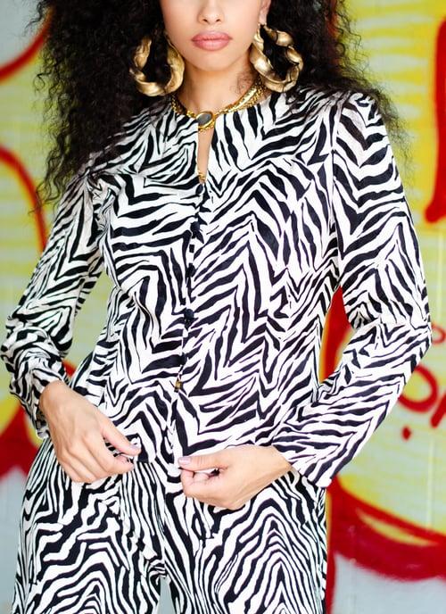Image of Vintage Zuri Zebra Silk Blazer