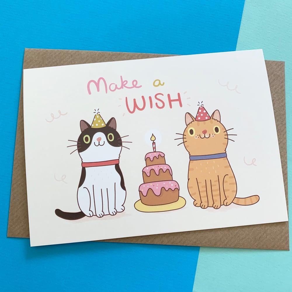 Image of Cat Make A Wish Birthday Card