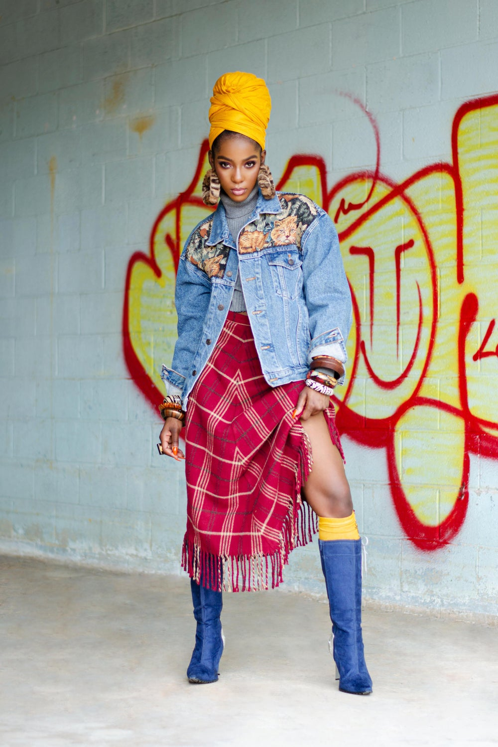 Image of Vintage Abeje Plaid Fringe Skirt