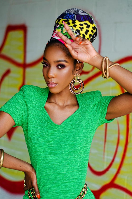 Image of Vintage Adaeze 80's Green Fitted Mini Dress