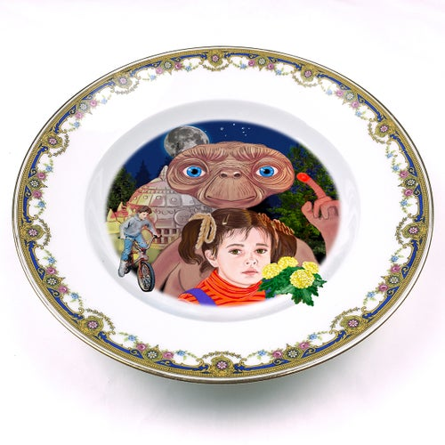 Image of Phone Home - Vintage French fine china Plate - #0448