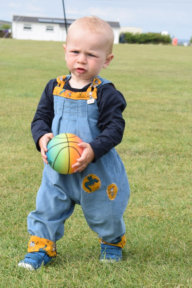 Image of Baby Reversible Dungarees - Dragons