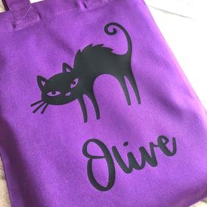 Image of Halloween Spooky Cat Personalised Trick or Treat Goody Bag