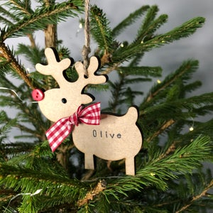 Image of Personalised Christmas Rudolph Reindeer Decoration
