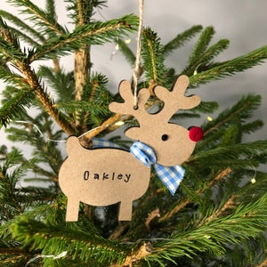 Image of Personalised Baby's 1st Christmas 2021 Rudolph Reindeer Decoration