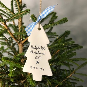 Image of Baby's 1st Christmas 2021 Personalised Ceramic Tree Decoration